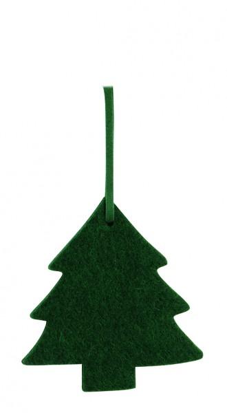 Filzanhänger Tannenbaum, klein (Filzstärke: 5 mm) - dunkelgrün - optional mit Siebdrucktransfer