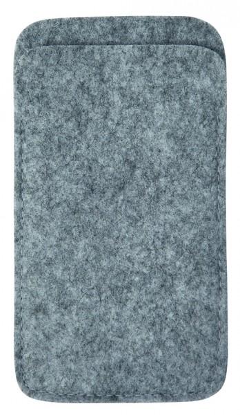 Polyesterfilz Smartphone-Tasche (Filzstärke: ca. 2,5 mm) - hellgraumeliert - optional mit Siebdruck