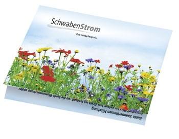 Klappkärtchen Blumenstrauß, 90 x 60 mm, Blumenmischung, 1-4 c Digitaldruck inkl. - Werbeaufdruck: D