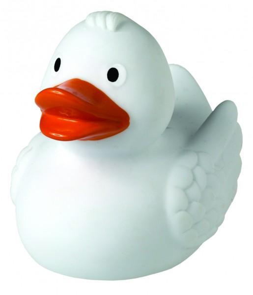 Quietsche-Ente weiß - weiß (Größe: ca. 7,5 cm) - optional mit Tampondruck