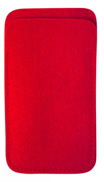 Polyesterfilz Smartphone-Tasche (Filzstärke: ca. 2,5 mm) - rot - optional mit Siebdrucktransfer