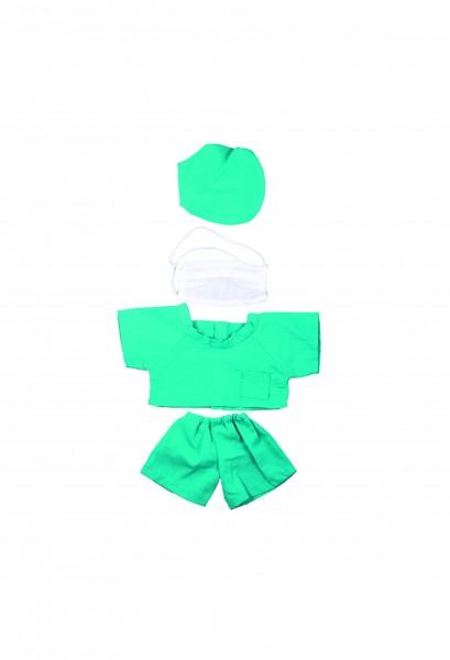 OP-Kleidung Gr. S - grün/weiß (Größe: passend für Plüschtiere) - optional mit Siebdrucktransfer