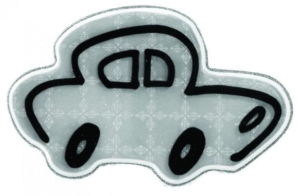Weichplastiksticker Auto - silber (Größe: ca. 7 cm) - optional mit Siebdrucktransfer