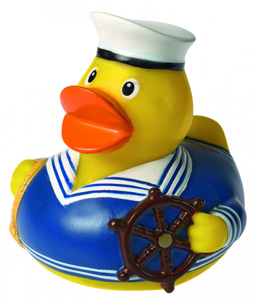 Quietsche-Ente Seemann blau - bunt (Größe: ca. 8 cm) - optional mit Tampondruck