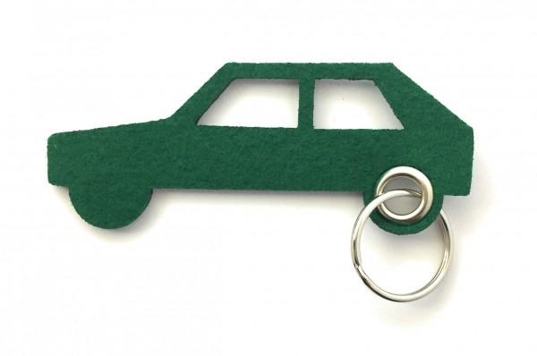 Auto - retro - Schlüsselanhänger aus Filz in waldgrün - optional mit Gravur / Aufdruck