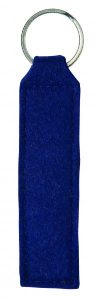 Polyesterfilz Schlüsselanhänger Rechteck (Filzstärke: ca. 2,5 mm) - dunkelblau - optional mit Siebd