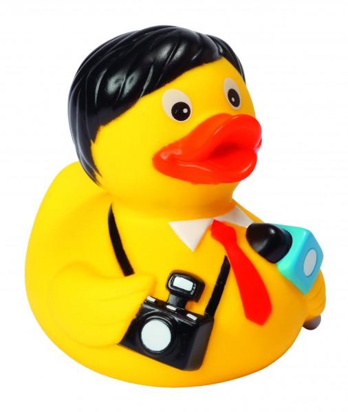 Quietsche-Ente Reporter - gelb (Größe: ca. 8 cm) - optional mit Tampondruck