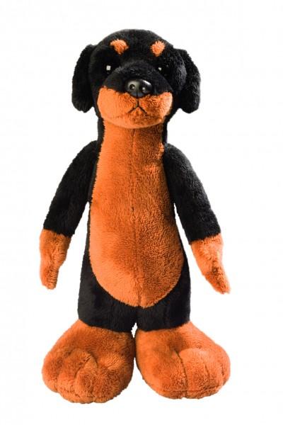 Stehender Hund Blacky - schwarz/braun (Größe: ca. 24 cm) - optional mit Siebdrucktransfer, Direkttra