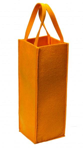 Polyesterfilz Flaschentasche/ Flaschenträger (Filzstärke: ca. 5 mm) - gelb - optional mit Siebdruck