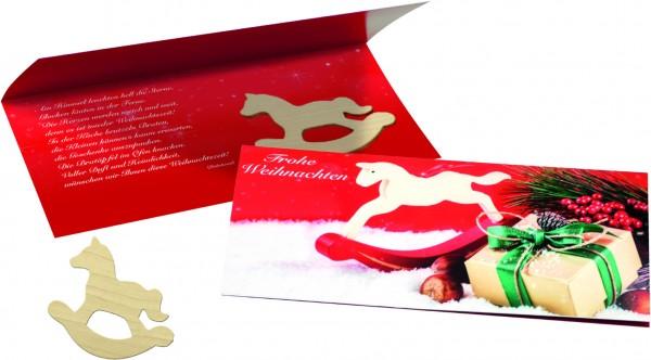 Weihnachtskarte Schaukelpferd, ohne Kuvert, 1-4 c Digitaldruck inklusive