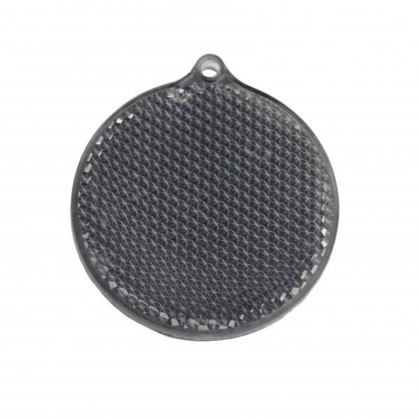 Fußgängerreflektor Rondell - schwarz (Größe: ca. 5,5 cm) - optional mit Tampon-/Siebdruck