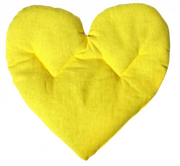 Getreidekissen/ Wärmekissen Herz - gelb (Größe: ca. 27 cm) - optional mit Siebdrucktransfer