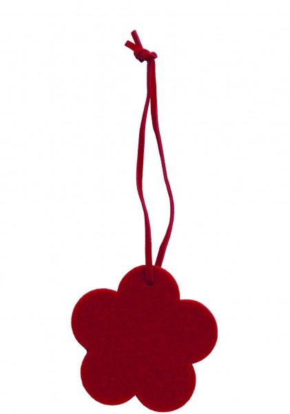 Polyesterfilz Anhänger Blume klein (Filzstärke: 5 mm) - rot - optional mit Siebdrucktransfer