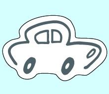 Weichplastikreflektor Auto - neongelb (Größe: ca. 7,4 cm) - optional mit Siebdrucktransfer
