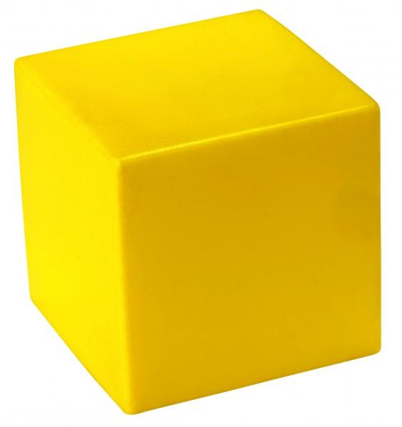 SQUEEZIES® Würfel - gelb (Größe: ca. 5 cm Kantenlänge) - optional mit Tampondruck