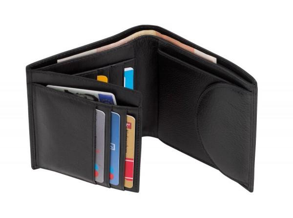 Echtleder-Geldbörse DOW JONES in schwarz