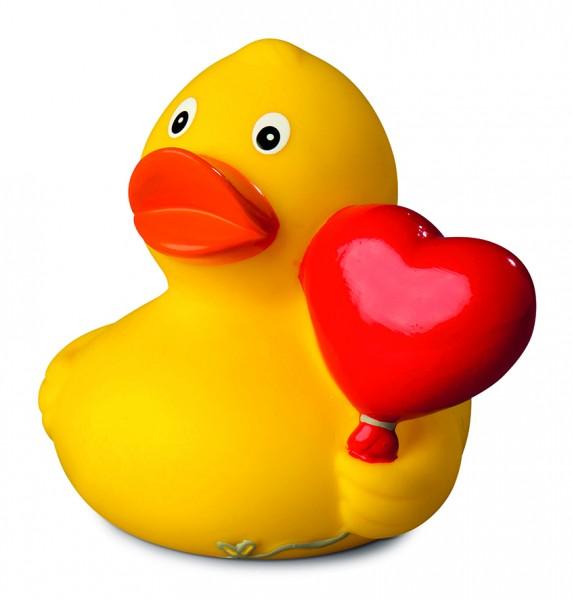 Quietsche-Ente Herzballon - gelb (Größe: ca. 8 cm) - optional mit Tampondruck
