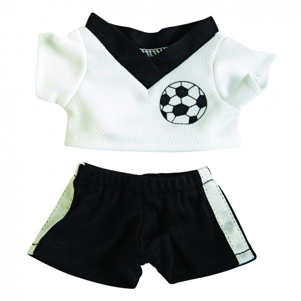 Fußball-Dress Gr. M - schwarz/weiß (Größe: passend für Plüschtiere) - optional mit Siebdrucktransfer