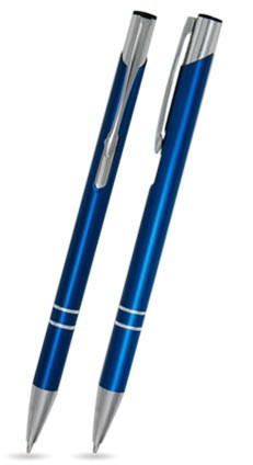 LIBO SLIM Blau matter Metallkugelschreiber