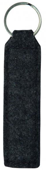 Polyesterfilz Schlüsselanhänger Rechteck (Filzstärke: ca. 2,5 mm) - anthrazit - optional mit Siebdr
