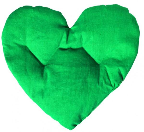 Getreidekissen/ Wärmekissen Herz - grün (Größe: ca. 27 cm) - optional mit Siebdrucktransfer