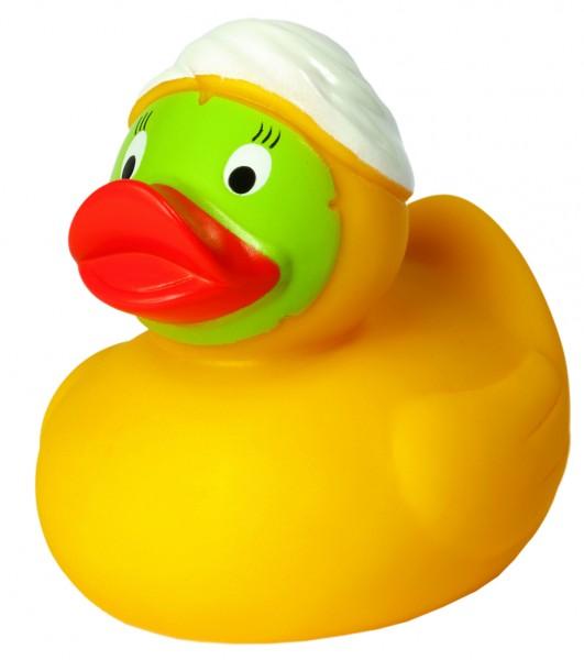 Quietsche-Ente Wellness - gelb (Größe: ca. 8 cm) - optional mit Tampondruck