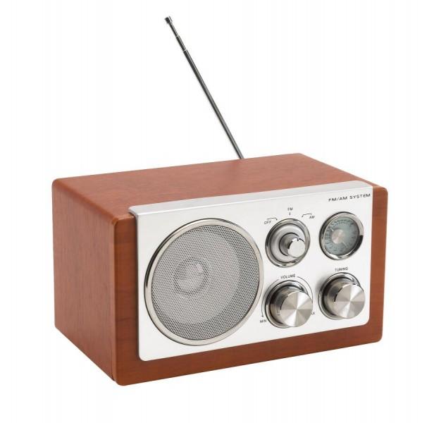AM/ FM-Radio CLASSIC in silber, braun