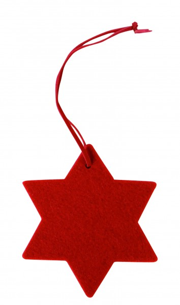 Filzanhänger Stern, klein (Filzstärke: 5 mm) - rot - optional mit Siebdrucktransfer