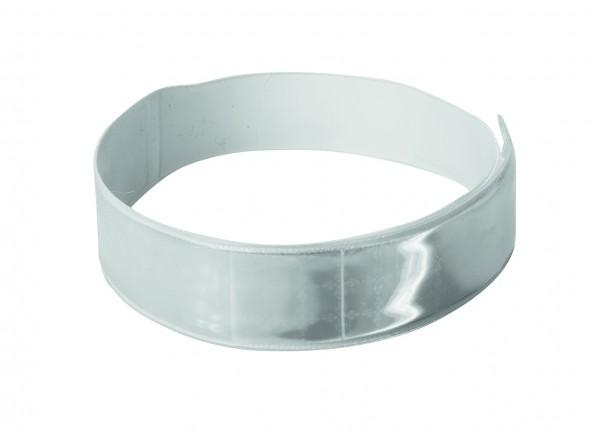 Reflexband mit Kunststoffrücken - silber (Größe: ca. 40 cm) - optional mit Siebdruck