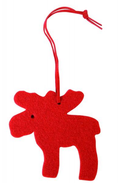 Filzanhänger Elch (Filzstärke: 5 mm) - rot - optional mit Siebdrucktransfer