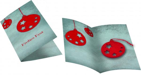 Weihnachtskarte Weihnachtskugel, ohne Kuvert, 1-4 c Digitaldruck inklusive