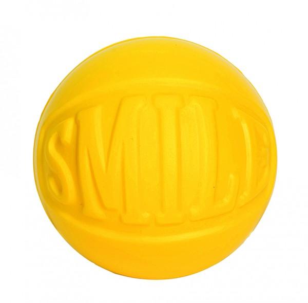 """SQUEEZIES® Statement Ball """"SMILE"""" - gelb (Größe: ca. 7 cm Durchmesser) - optional mit Tampondruck"""