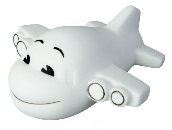 Quietsche-Flugzeug - weiß (Größe: ca. 9 cm) - optional mit Tampondruck