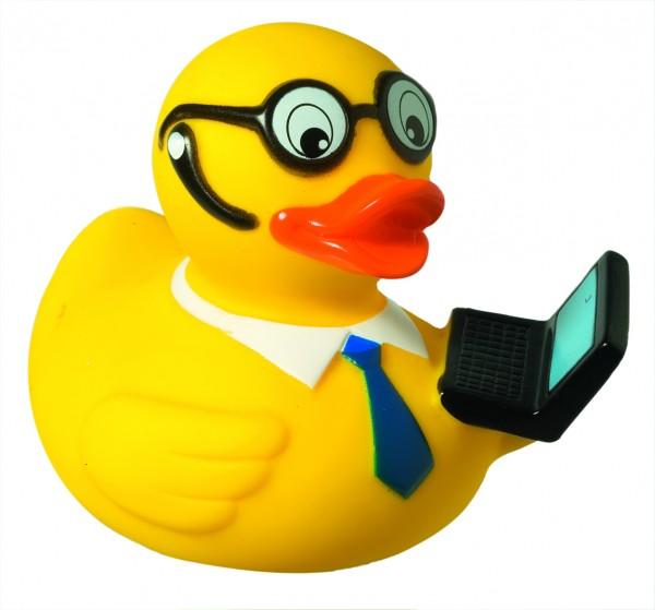Quietsche-Ente Laptop - gelb (Größe: ca. 8 cm) - optional mit Tampondruck