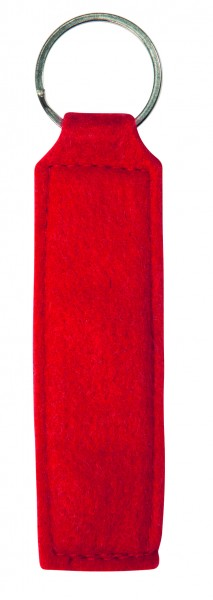 Polyesterfilz Schlüsselanhänger Rechteck (Filzstärke: ca. 2,5 mm) - rot - optional mit Siebdrucktra