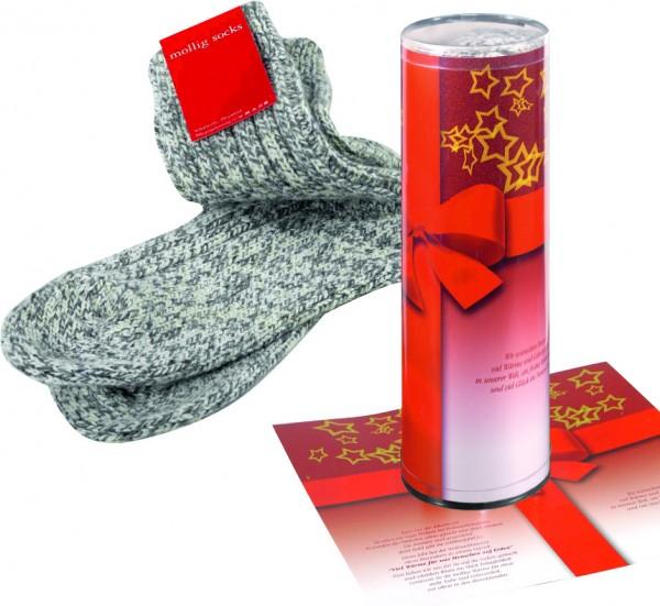 Mollig Socks in Geschenkrolle, 1-4 c Digitaldruck inklusive