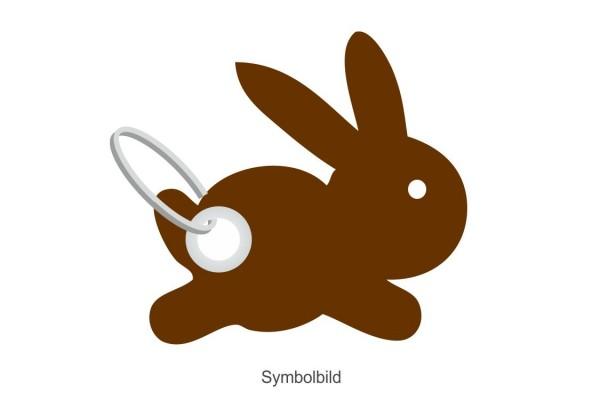 Filz Schlüsselanhänger - Hase hoppelnd - optional mit Schlüsselring / Werbekarte