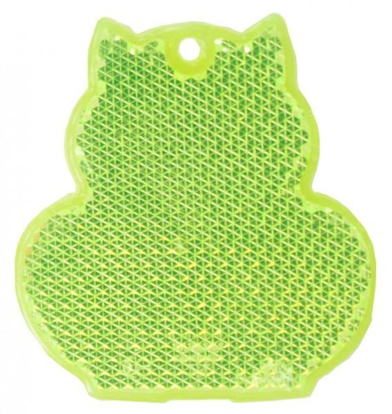 Fußgängerreflektor Katze - neongelb (Größe: ca. 6 cm) - optional mit Tampon-/Siebdruck