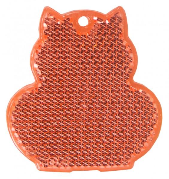 Fußgängerreflektor Katze - rot (Größe: ca. 6 cm) - optional mit Tampon-/Siebdruck