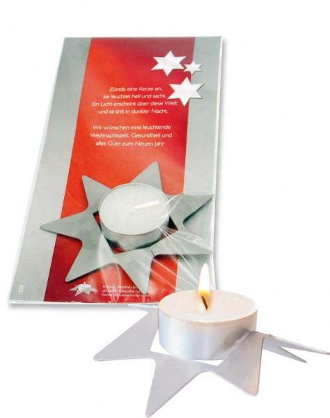 Licht im Stern, Metall-Stern zum Biegen, ohne Kuvert, 1-4 c Digitaldruck inklusive