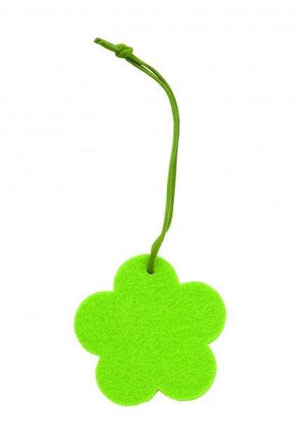 Polyesterfilz Anhänger Blume klein (Filzstärke: 5 mm) - grün - optional mit Siebdrucktransfer