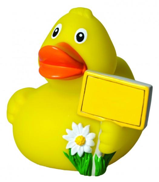 Quietsche-Ente CityDuck® StadtEnte® - gelb (Größe: ca. 8 cm) - optional mit Tampondruck