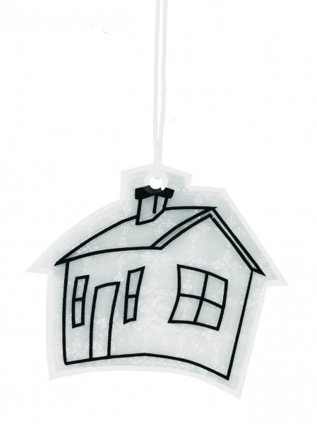 Weichplastikreflektor Haus - silber (Größe: ca. 5,6 cm) - optional mit Siebdrucktransfer