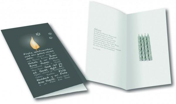 Weihnachtskarte Adventskerzen, ohne Kuvert, 1-4 c Digitaldruck inklusive