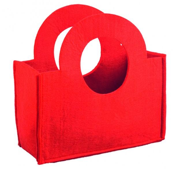 Filztasche klein, mit rundem Henkel (Filzstärke: ca. 5 mm) - rot - optional mit Siebdrucktransfer