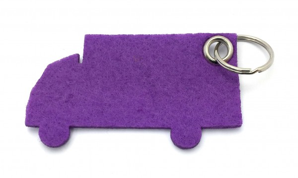 LKW - Schlüsselanhänger aus Filz in lila / flieder - optional mit Gravur / Aufdruck