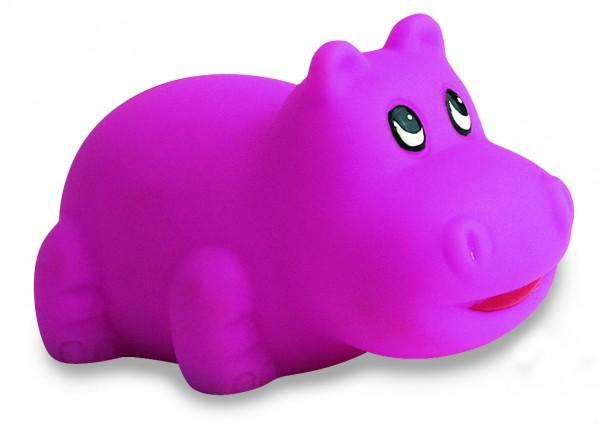 Quietsche-Hippo - pink (Größe: ca. 6 cm) - optional mit Tampondruck