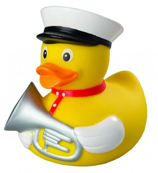 Quietsche-Ente Trompeter - bunt (Größe: ca. 8 cm) - optional mit Tampondruck