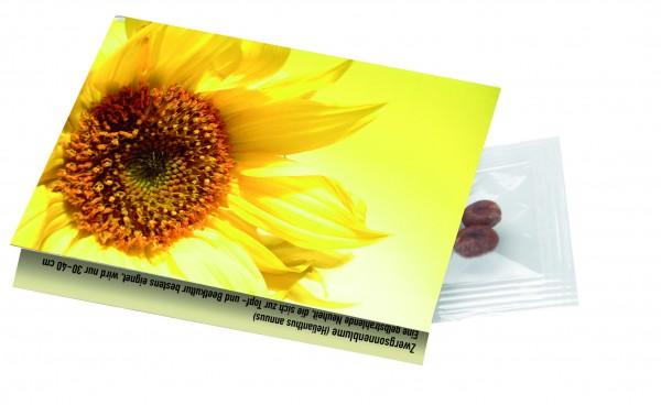 Klappkärtchen Sonne, 90 x 60 mm, Zwergsonnenblume, 1-4 c Digitaldruck inklusive