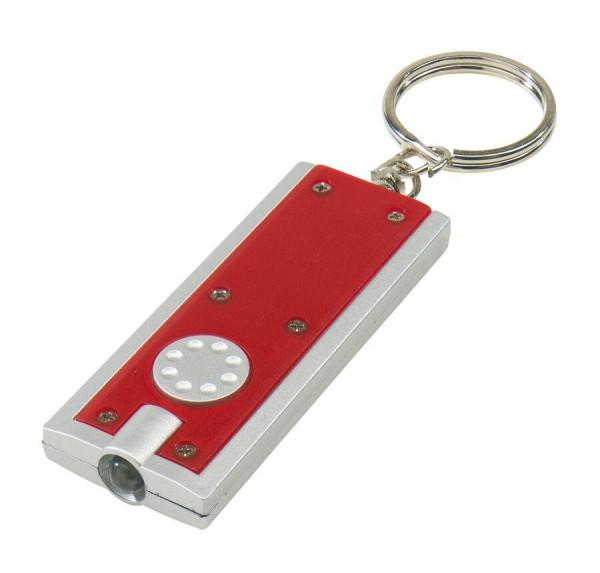 Superflacher LED-Schlüsselanhänger LOOK in rot, silber